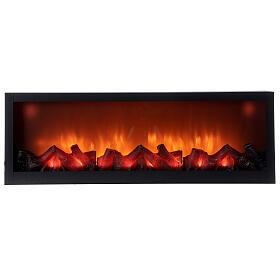 Lareira decorativa retangular com luz LED efeito chama 20x80x10 cm cm s1