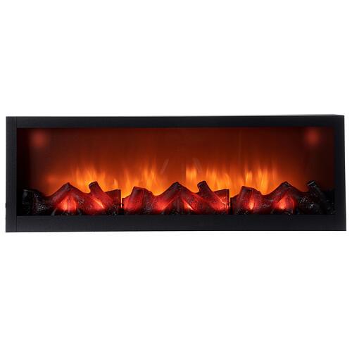 Lareira decorativa retangular com luz LED efeito chama 20x80x10 cm cm 1