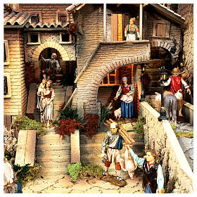 Complete Nativity scene set with Moranduzzo statues, 8 modules 100x320x120 cm s6