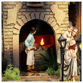 Complete Nativity scene set with Moranduzzo statues, 8 modules 100x320x120 cm s11
