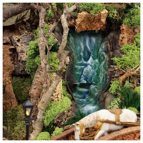 Complete Nativity scene set with Moranduzzo statues, 8 modules 100x320x120 cm 9
