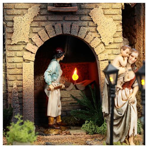 Complete Nativity scene set with Moranduzzo statues, 8 modules 100x320x120 cm 11
