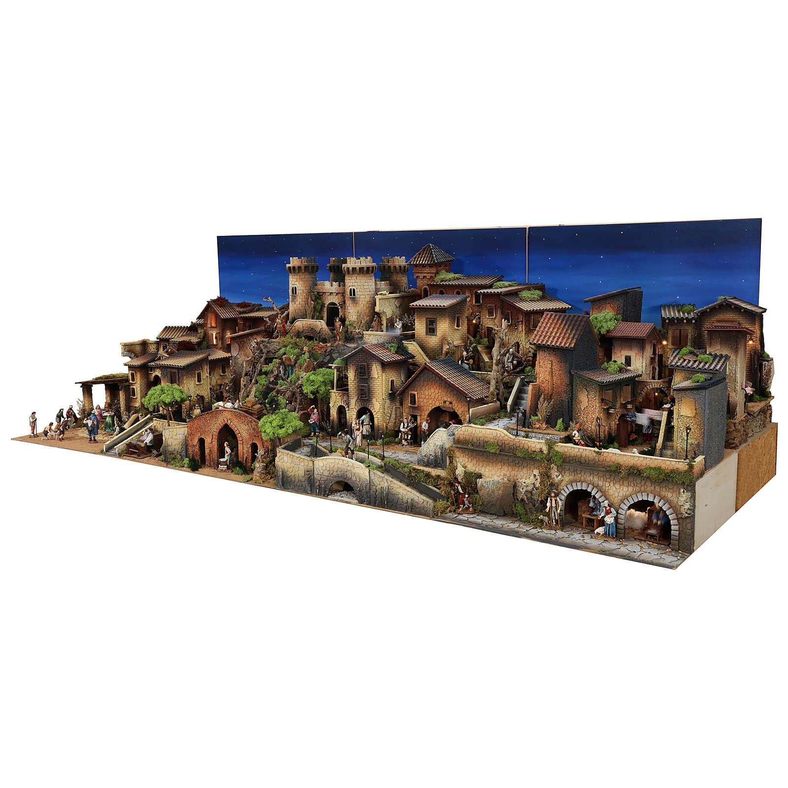 Presepe completo popolare 100x320x120 cm statue Moranduzzo 8 moduli 4