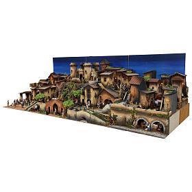 Presepe completo popolare 100x320x120 cm statue Moranduzzo 8 moduli s5