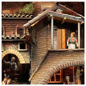 Presepe completo popolare 100x320x120 cm statue Moranduzzo 8 moduli s10