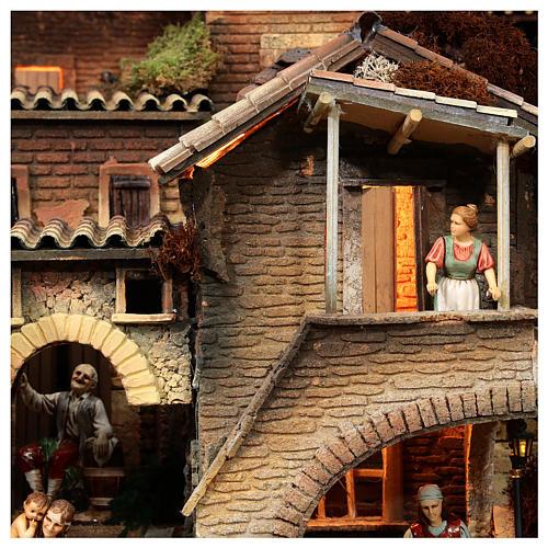Presepe completo popolare 100x320x120 cm statue Moranduzzo 8 moduli 10
