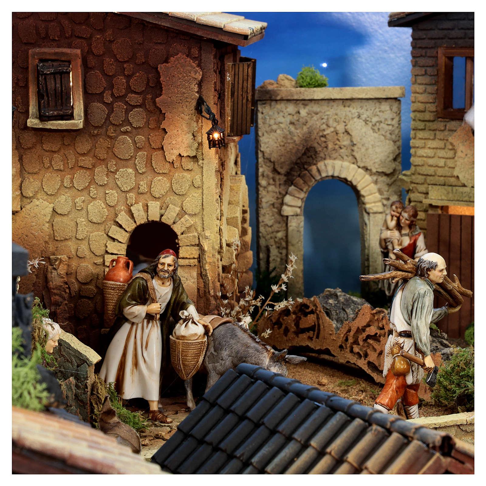 Presépio completo aldeia popular com figuras Moranduzzo, 8 módulos medidas: 100x320x120 cm 4