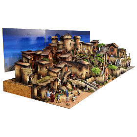 Presépio completo aldeia popular com figuras Moranduzzo, 8 módulos medidas: 100x320x120 cm s7