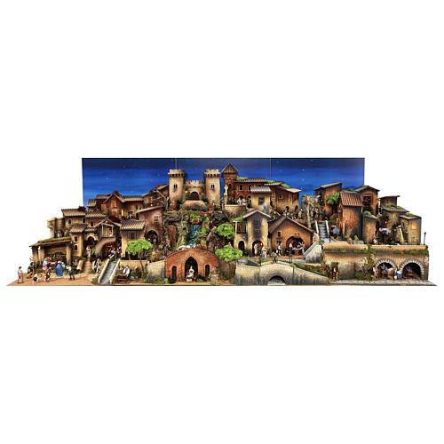 Presépio completo aldeia popular com figuras Moranduzzo, 8 módulos medidas: 100x320x120 cm 1