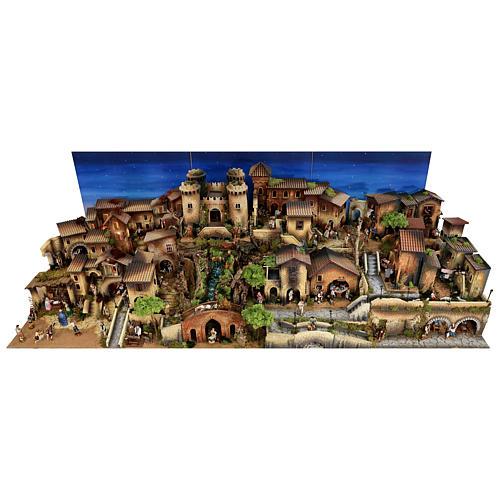 Presépio completo aldeia popular com figuras Moranduzzo, 8 módulos medidas: 100x320x120 cm 3