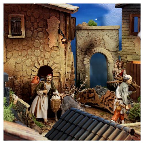 Presépio completo aldeia popular com figuras Moranduzzo, 8 módulos medidas: 100x320x120 cm 8