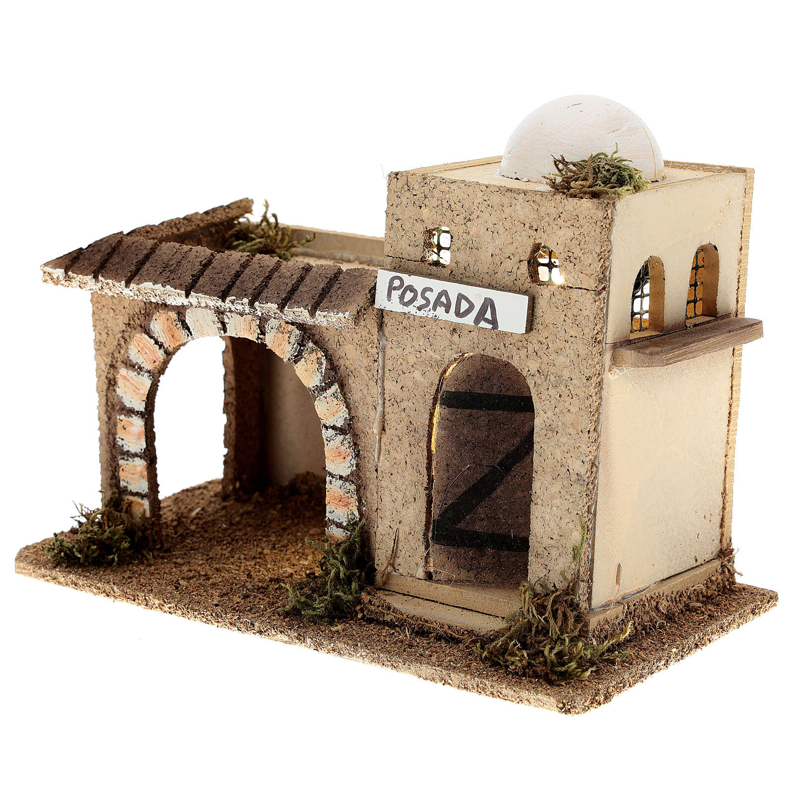Arabian inn with lights, in cork 15x20x10 cm for 6-8 cm nativity 4