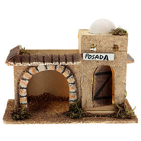 Arabian inn with lights, in cork 15x20x10 cm for 6-8 cm nativity s1