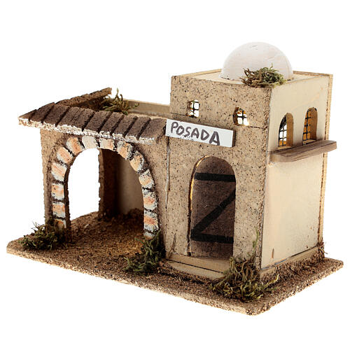 Arabian inn with lights, in cork 15x20x10 cm for 6-8 cm nativity 2