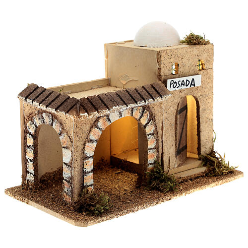 Arabian inn with lights, in cork 15x20x10 cm for 6-8 cm nativity 3