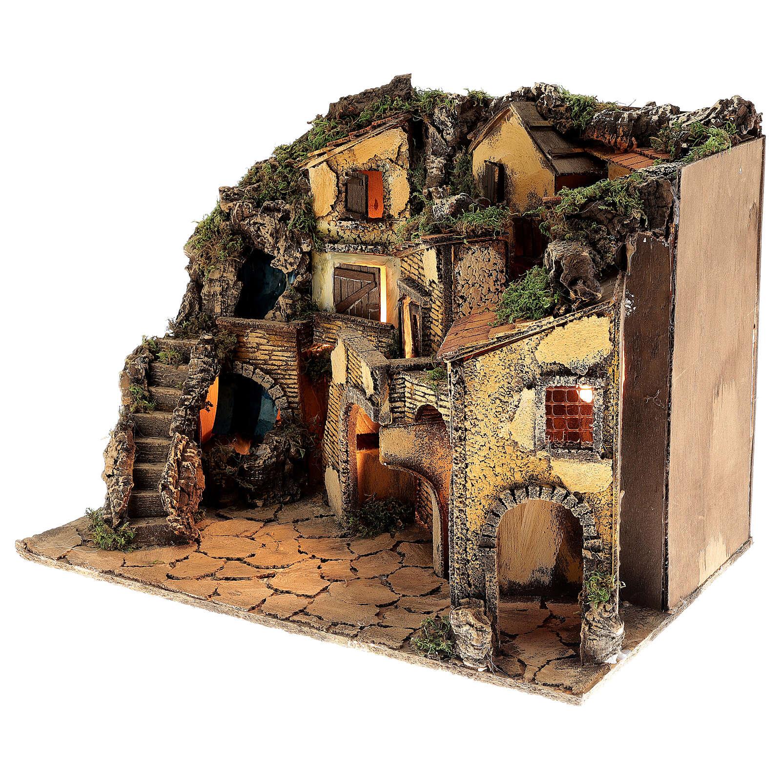 Borgo presepe napoletano stile 700 cascata luci 45x60x40 cm 4