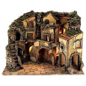 Borgo presepe napoletano stile 700 cascata luci 45x60x40 cm s1