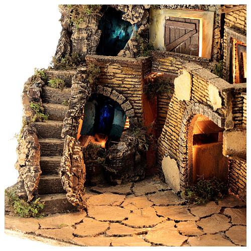 Borgo presepe napoletano stile 700 cascata luci 45x60x40 cm 2