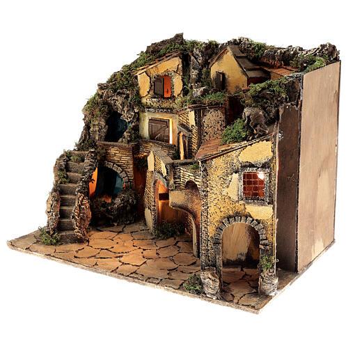 Borgo presepe napoletano stile 700 cascata luci 45x60x40 cm 3