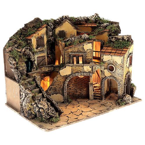 Neapolitan nativity village 1700s style with waterfall lights, 45x60x40 cm 4