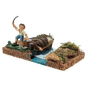 Pêcheur au bord d'une rivière 8 cm décor crèche s2