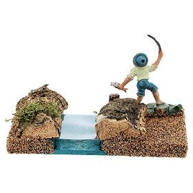 Pêcheur au bord d'une rivière 8 cm décor crèche s4