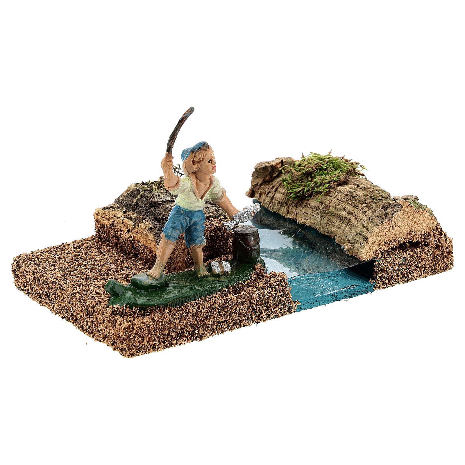 Pescatore in riva al fiume 8 cm ambientazione presepe 4