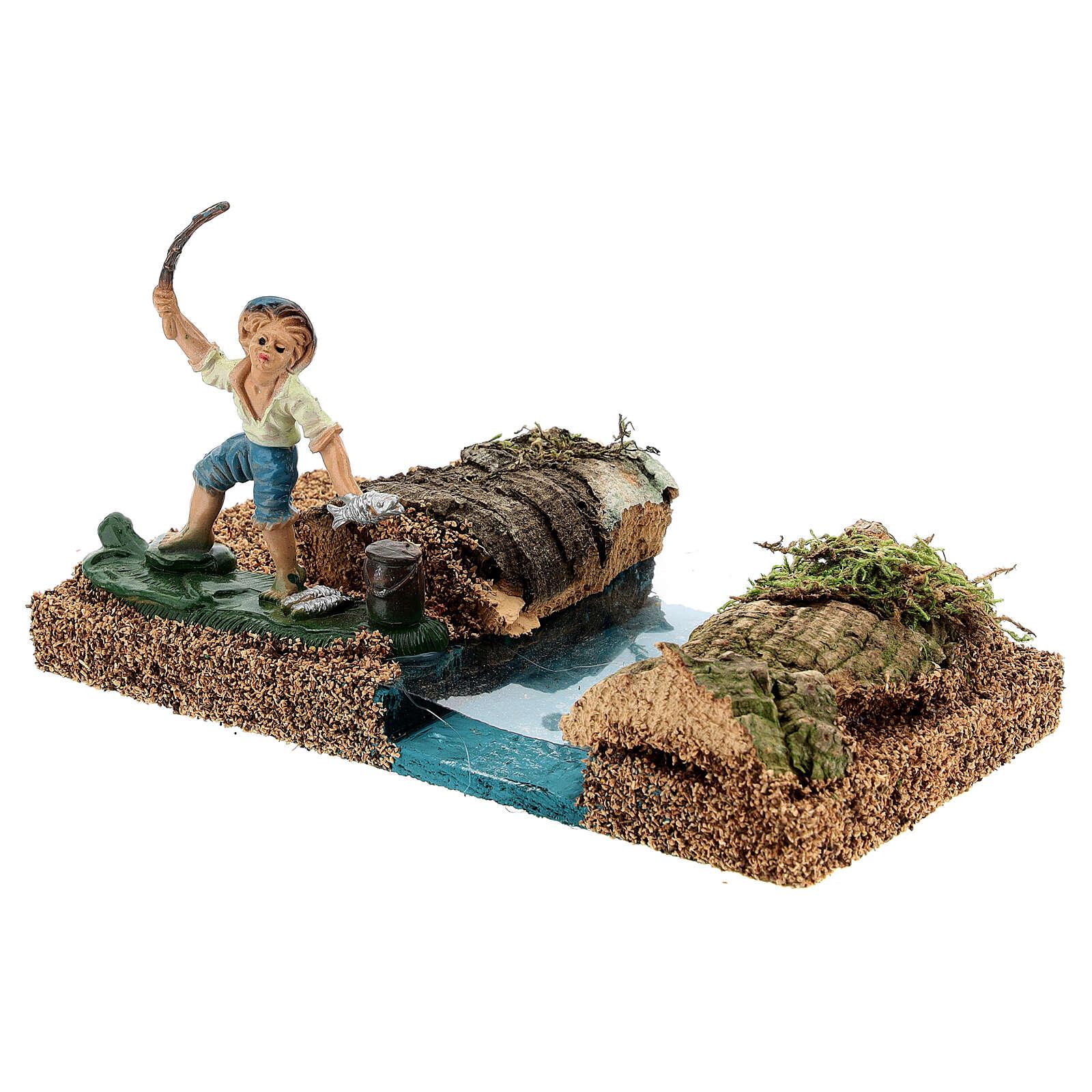 Pescador na margem do rio cenário para presépio com figuras de altura média 8 cm 4