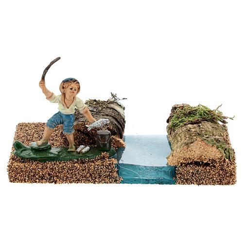 Pescador na margem do rio cenário para presépio com figuras de altura média 8 cm 1