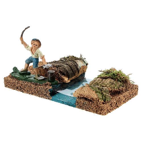 Pescador na margem do rio cenário para presépio com figuras de altura média 8 cm 2