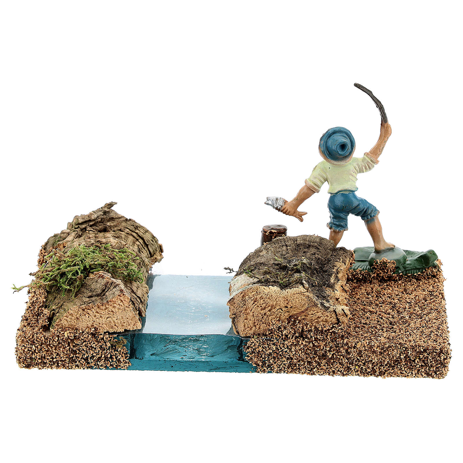 Fisherman by the river, 8 cm nativity setting 4