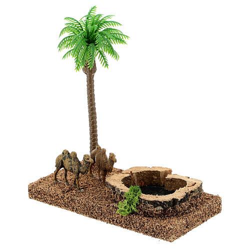 Oasis con camellos y palma 8 cm ambientación belén 2