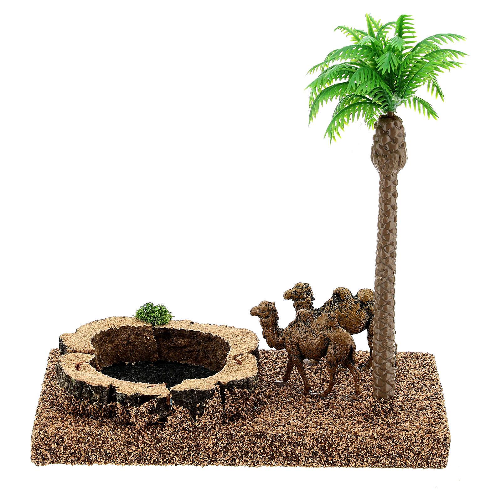 Oasi con cammelli e palma 8 cm ambientazione presepe 4