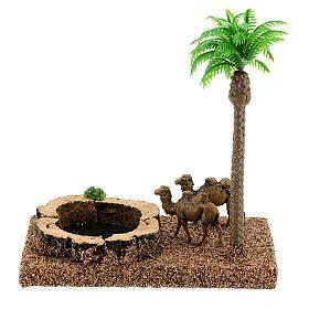 Oasi con cammelli e palma 8 cm ambientazione presepe s4