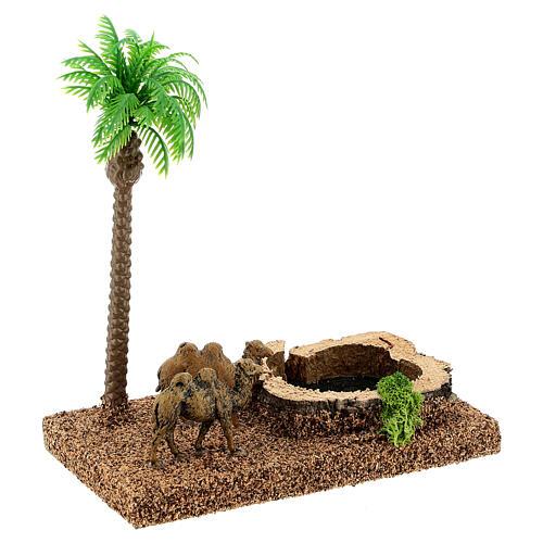 Oasi con cammelli e palma 8 cm ambientazione presepe 3
