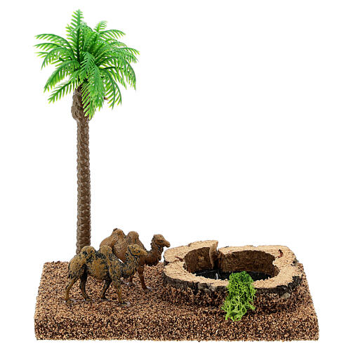 Miniature oasis with camels and palm, 8 cm nativity setting 1