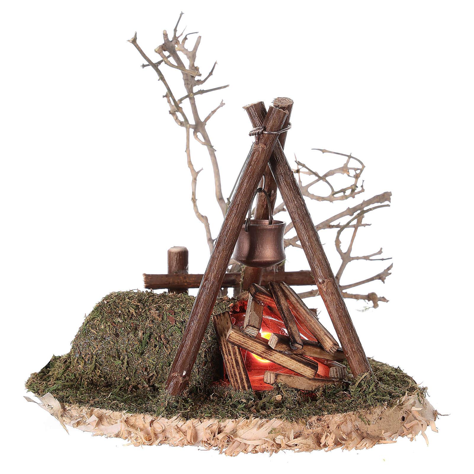 VERDADERO fuego parpadeante campamento 220V para belén 8-10-12 cm 4