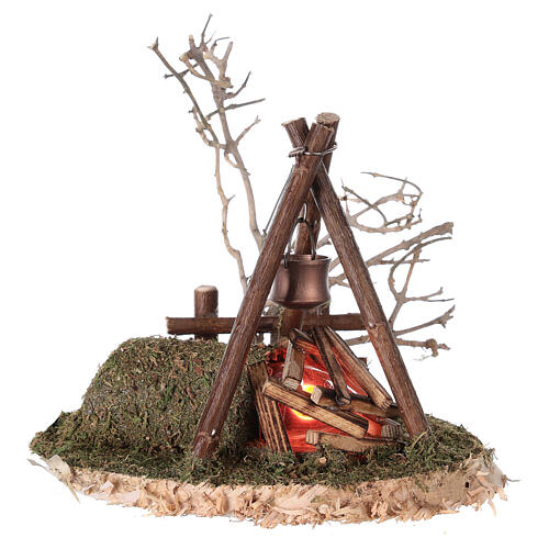 Campfire with REAL fire flickering effect 200V for nativity 8-10-12 cm 2