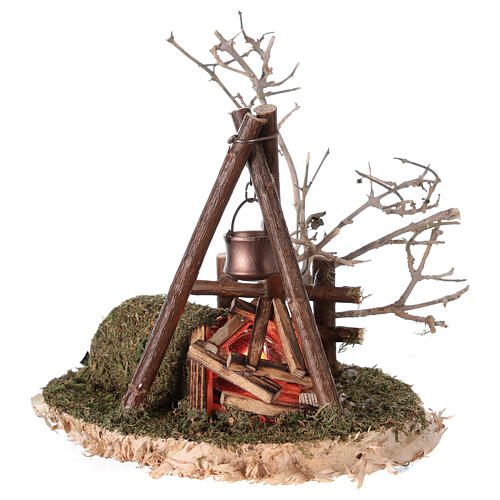 Campfire with REAL fire flickering effect 200V for nativity 8-10-12 cm 3
