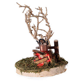 REAL campfire with LED flickering flame 4.5V for 8-10 cm nativity scene s2