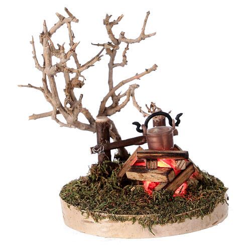 REAL campfire with LED flickering flame 4.5V for 8-10 cm nativity scene 1