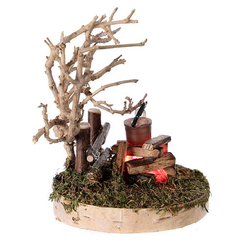 REAL campfire with LED flickering flame 4.5V for 8-10 cm nativity scene 3