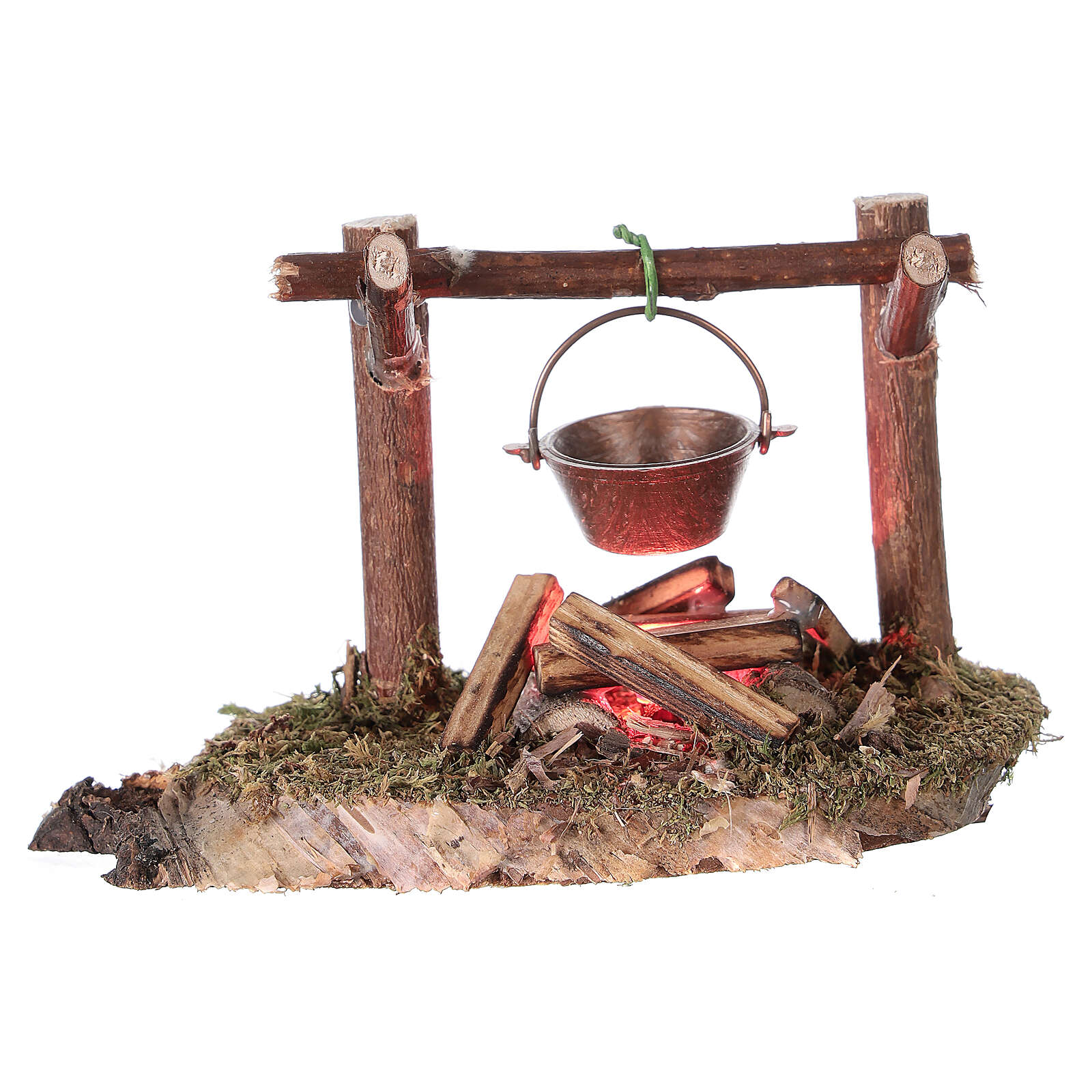Bivouac figurine REAL flickering fire LED 4.5V nativity 8-10 cm 4
