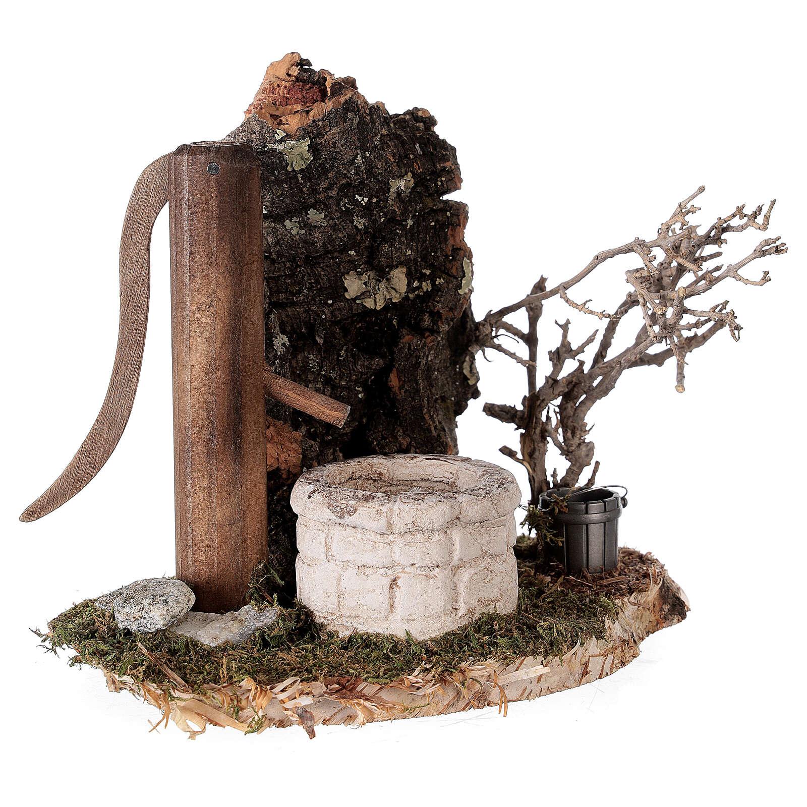 Fausse fontaine nordique 15x15x10 cm pour crèche 8-10-12 cm 4