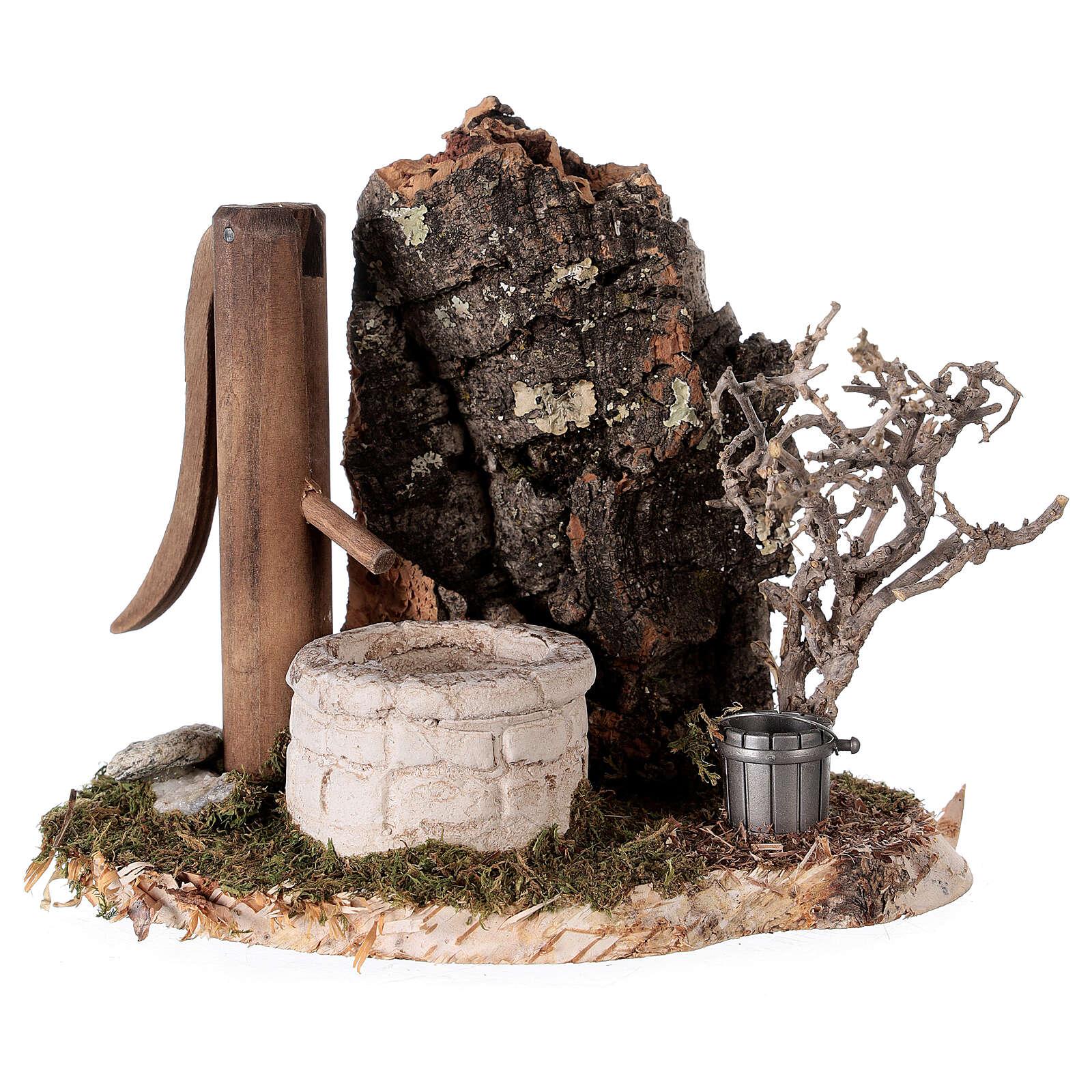 Finta fontana nordica 15x15x10 cm per presepi 8-10-12 cm 4