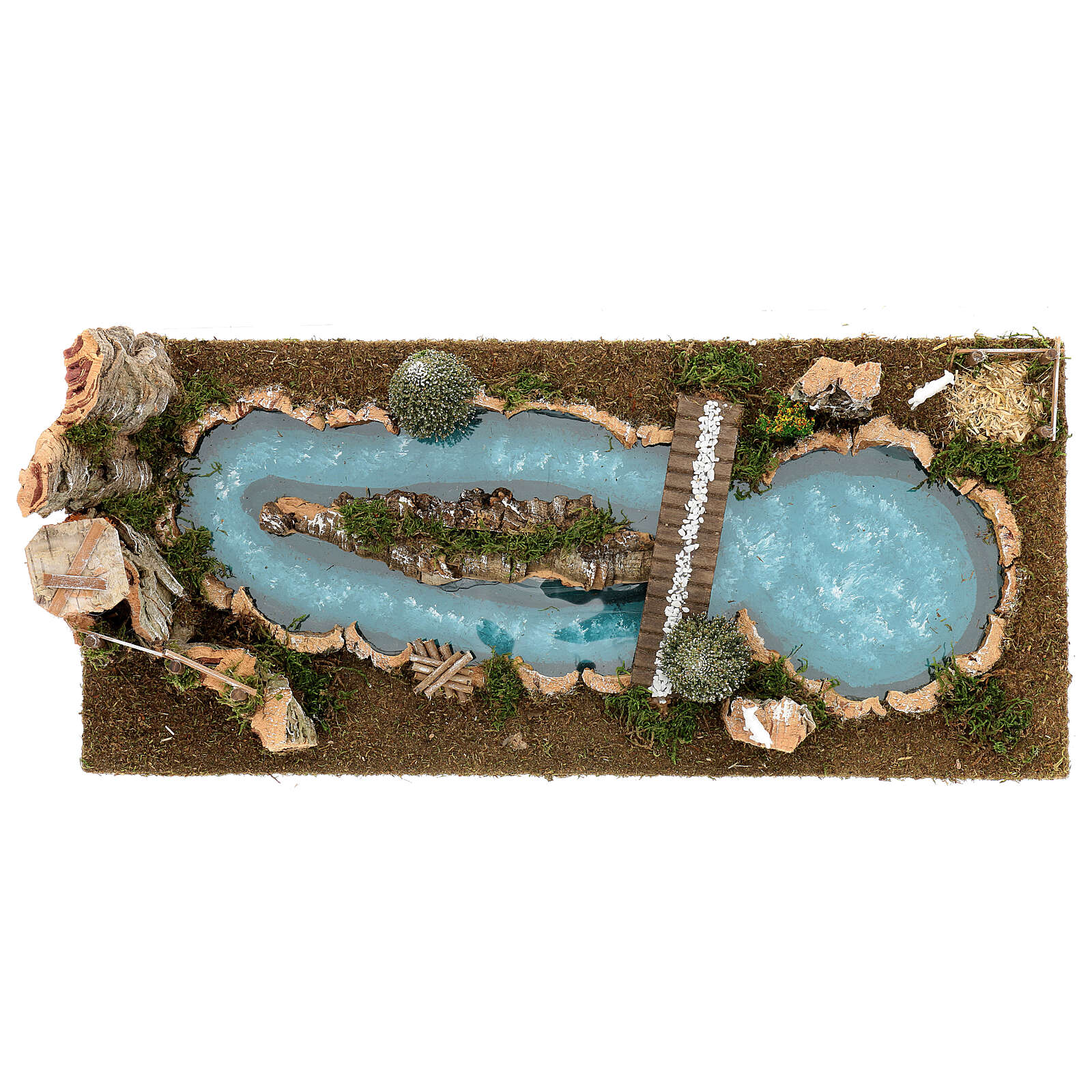 Pond with bridge and sheep, 20x25x55 cm for 6-8 cm Nativity Scenes 4