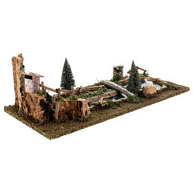 Pond with bridge and sheep, 20x25x55 cm for 6-8 cm Nativity Scenes s4