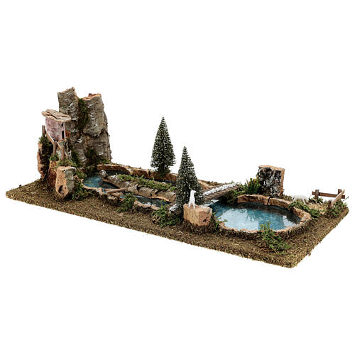 Pond with bridge and sheep, 20x25x55 cm for 6-8 cm Nativity Scenes 3