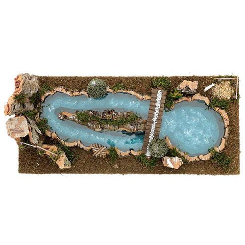 Lago puente y ovejitas 20x25x55 cm belenes 6-8 cm 2