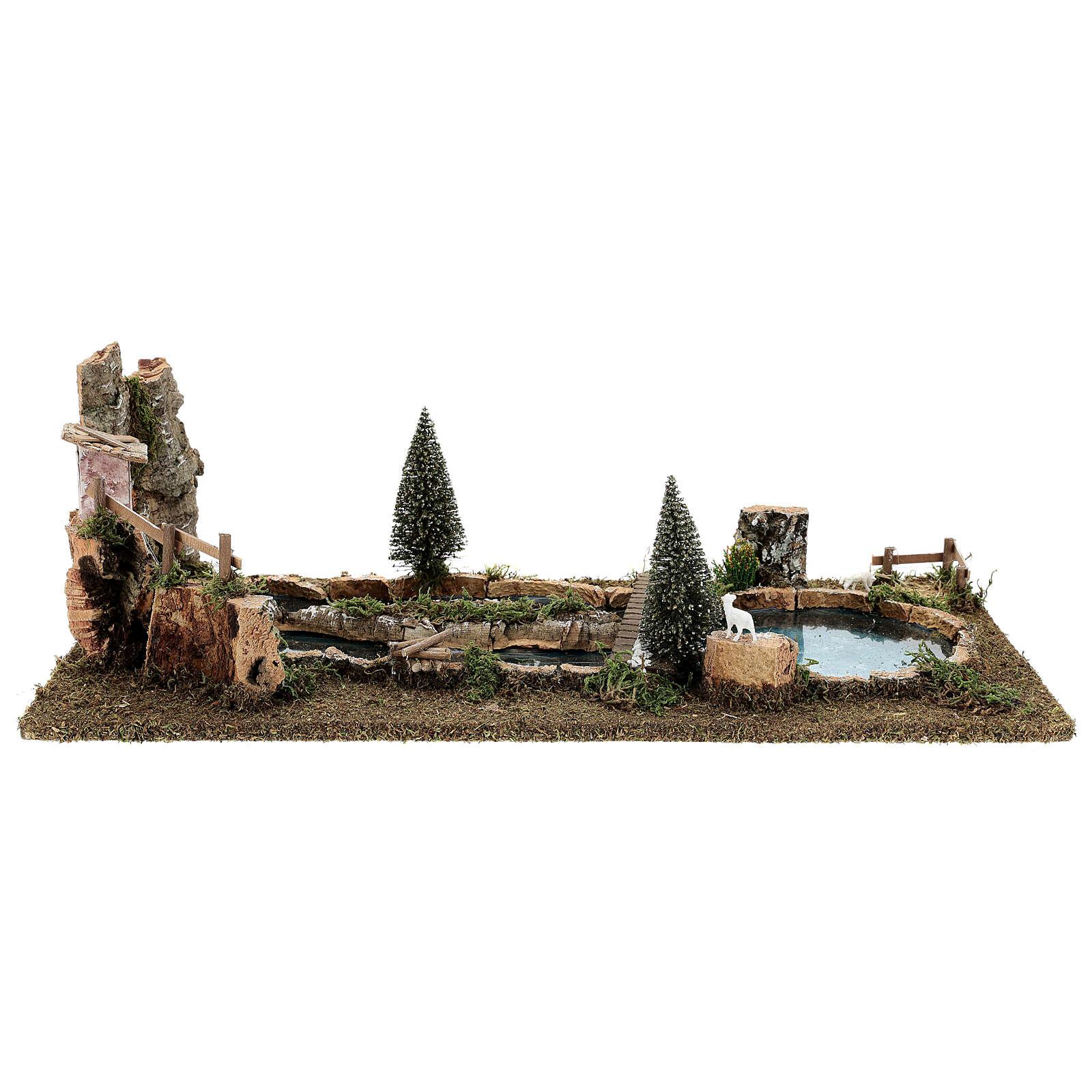Laghetto ponte e pecorelle 20x25x55 cm presepi 6-8 cm 4